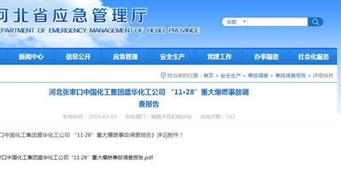 张家口重大爆燃事故28人被处分 常务副市长被问责