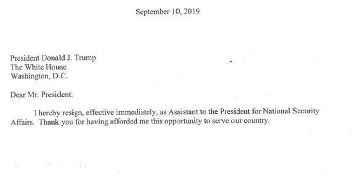 白宫国安顾问博尔顿被特朗普开了 辞职信曝光(图)