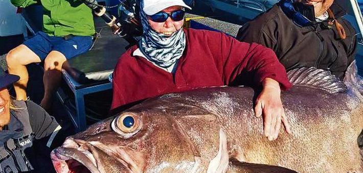 68岁退休妇人钓到62公斤石斑鱼