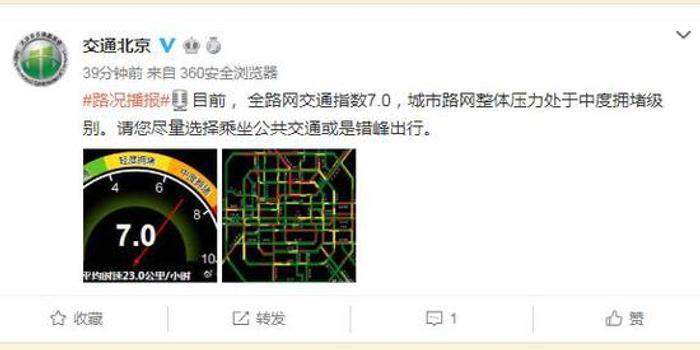 周一早高峰 北京交通中度拥堵
