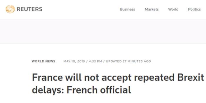 法总统顾问呼吁缩短脱欧谈判:不会容忍一再延期