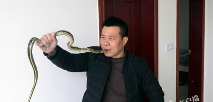 男子表演生吞活蛇年入10万 其子不愿接班