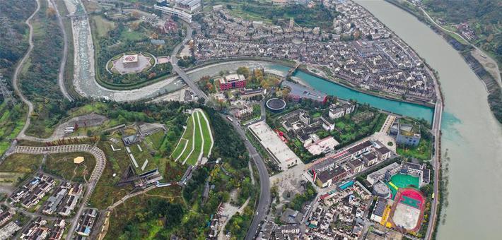 空中俯瞰映秀 如今一座新城拔地而起