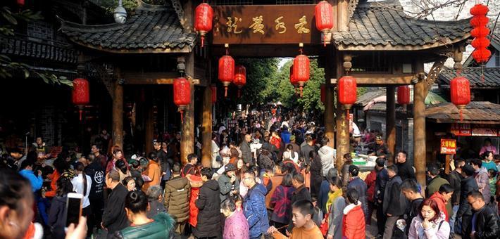 春节大假成都黄龙溪古镇人气旺