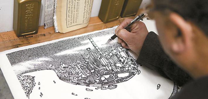上海保安深夜画画十年 随身携带作品