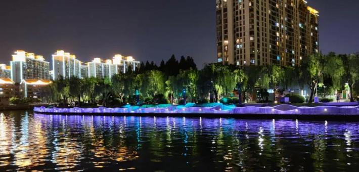 长宁苏州河沿岸景观照明正在提升