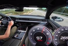 奥迪A8 55 TFSI 267km/h 无限速高速公路表演