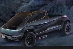 某设计大师渲染出来的特斯拉皮卡,车头看着像Tesla semi。