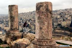 Tourists visit Citadel archaeological site in Amman, Jordan