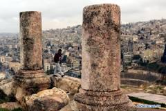 Tourists visit Citadel archaeological site in Amman, Jordan