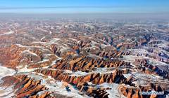 View of Mahuangliang Loess Geopark after snow in NW China