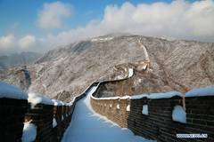 Snow scenery at Mutianyu section of Great Wall