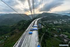Dafaqu grand bridge of Renhuai-Zunyi expressway under construction in Guizhou