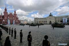 Rehearsal of Victory Day parade held in Moscow, Russia