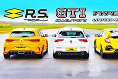 大众高尔夫 GTI、思域Type-R、雷诺Megane RS对决,谁才是王者?