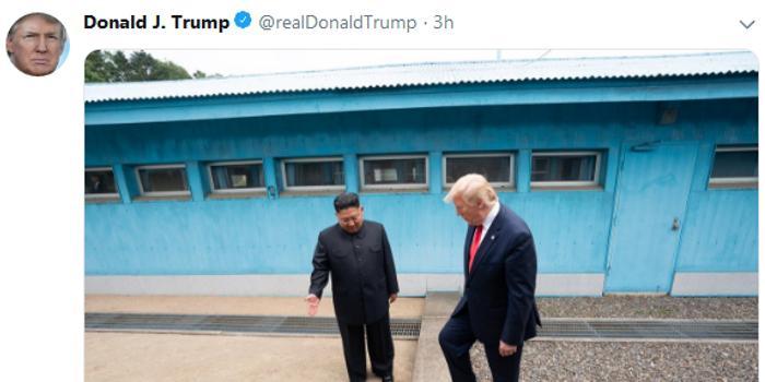 """特朗普在推特上""""晒""""出了他""""历史性一跨"""""""