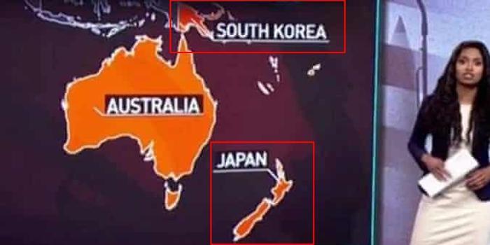 俄媒节目地图出错:新西兰变