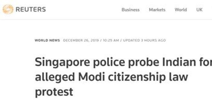 英媒:印籍男子在新加坡參與非法集會抗議印度修法