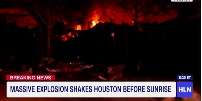 美国休斯敦一工厂爆炸 住户窗户被震碎火球冲天