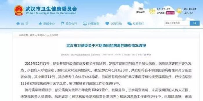 武汉市卫健委:不明原因肺炎患者已发现44例 重症11例
