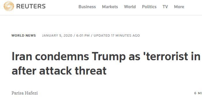 """伊朗通信部长怒批特朗普:""""西装革履的恐怖分子"""""""