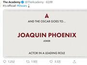 第92届奥斯卡最佳男女演员公布 《小丑》男主获奖