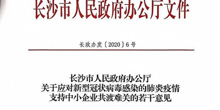 长沙出台20条措施支持中小企业共渡难关