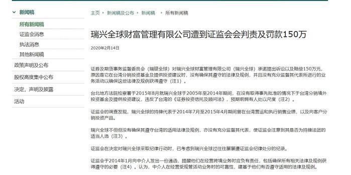 香港证监会:对瑞兴全球予谴责及罚款150万港元