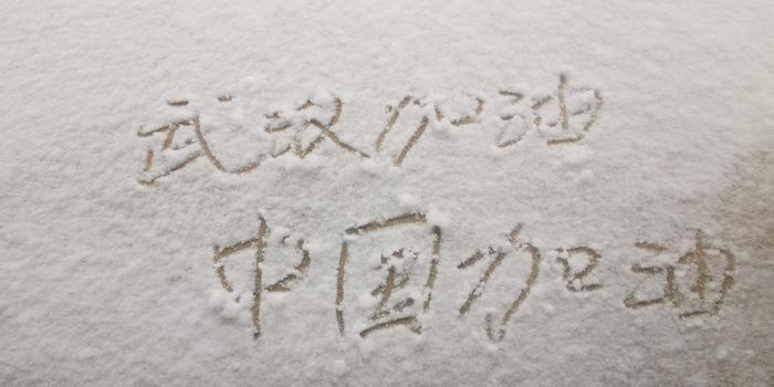 """北京迎鼠年首场降雪,市民雪中写""""武汉加油""""(图)"""