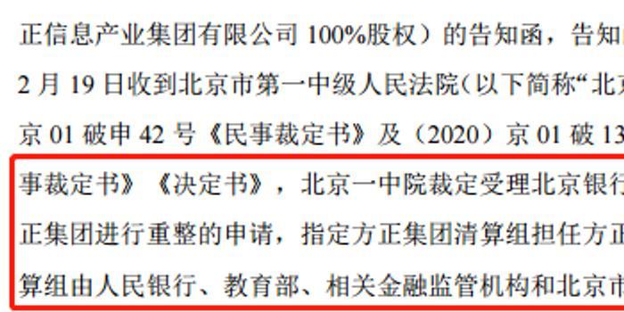 3600亿方正集团被重整 旗下上市公司股价涨跌互现