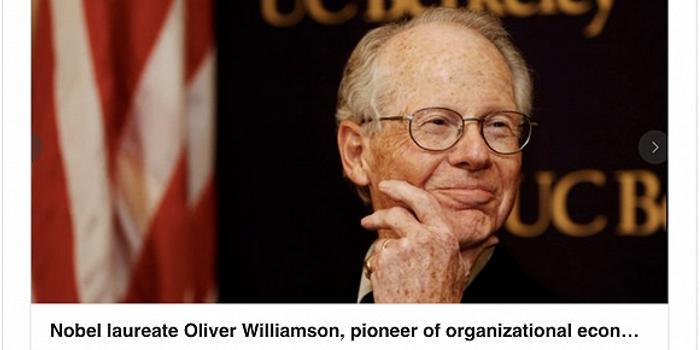 """諾貝爾經濟學獎得主威廉姆森病逝 10年前曾到中國""""布道"""""""