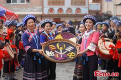 Bouyei people in Guizhou celebrate traditional festival 'San Yue San'
