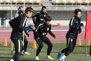韩国男足备战训练