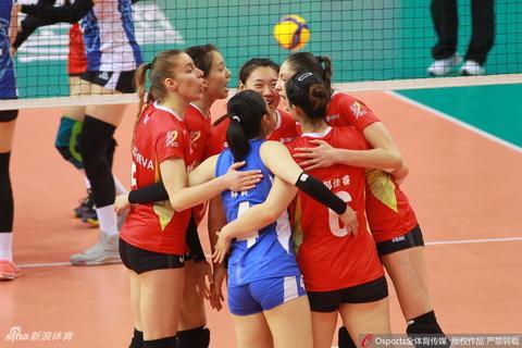 排超半决赛广东女排3-1上海女排