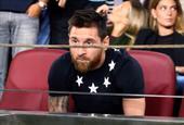 梅西看台上为巴萨加油 全场球迷高呼他的名字