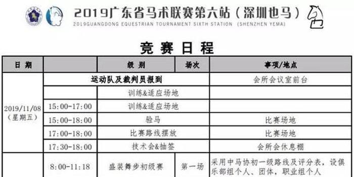 延期至11月9-10日,广东省马术联赛深圳也马站竞赛日程出炉