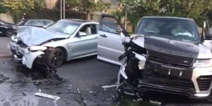 前英格兰名将车祸惊魂 路虎宝马相碰 车头撞烂了
