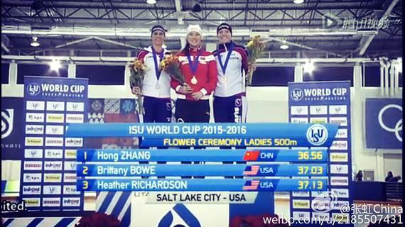 张虹再次获得女子500米冠军