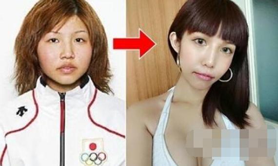 今井梦露(左图)曾代表日本参加2006年冬奥,之后整形(右图)