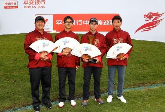 图为张新军(右一)、窦泽成(右三)等取得威巡赛高顺位半卡资历合影。