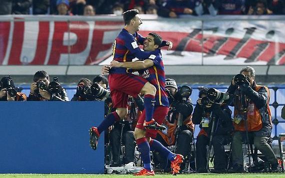 梅西苏亚雷斯双双破门,巴萨世俱杯夺冠