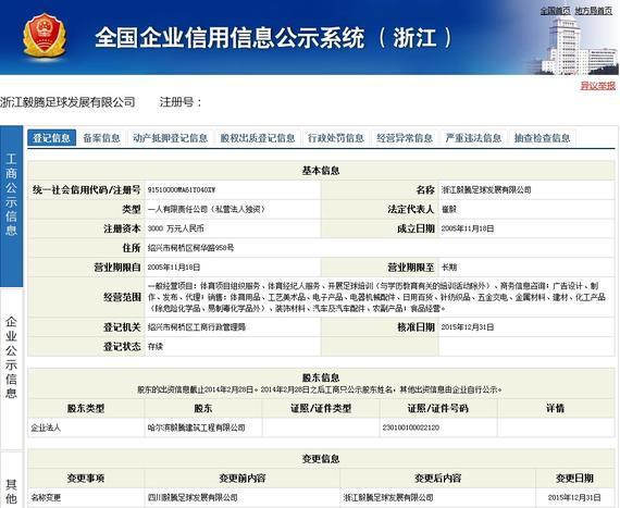 全国企业信用信息公示系统(浙江)显示的浙江毅腾注册信息