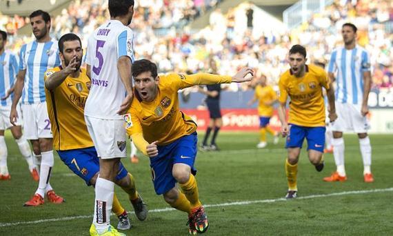 梅西进球,巴萨2-1客胜