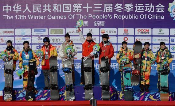 新华社乌鲁木齐1月25日体育专电(记者徐征 李琳海)第十三届全国冬季运动会25日在天池雪场决出了4枚金牌,哈尔滨队在单板滑雪U型场地团体赛中实力强劲,包揽了男、女冠军。冬季两项全面开战,乌鲁木齐队和解放军队瓜分了首日产生了两枚金牌。   队中拥有蔡雪桐和刘佳宇两位名将,使得哈尔滨队在率先展开的U型场地女子团体比赛中成为了绝对的大热门。最终两人也不负重望,蔡雪桐拿到91分,刘佳宇得到89.50分,两人得分远远超过了其它选手,虽然实力较弱的王雪梅仅得到43分,但哈尔滨队仍然以总分223.50分如愿夺得冠军
