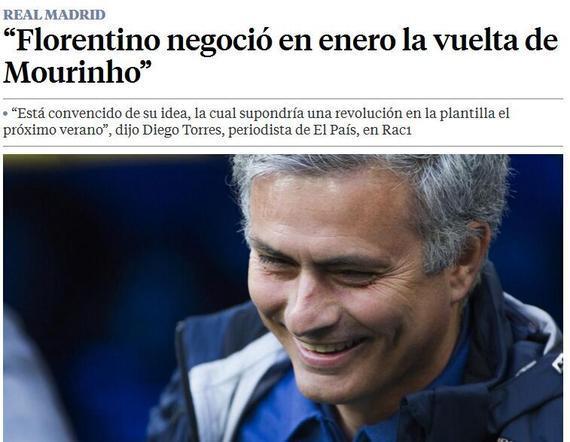 迭戈-托雷斯爆料,皇马正在疯狂追求穆里尼奥