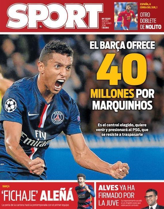 世界体育报:巴萨4000万买马尔基尼奥斯