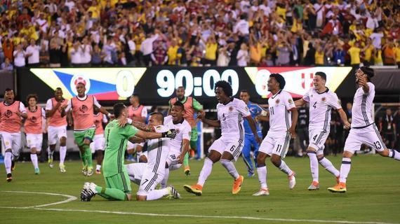 哥伦比亚庆祝点球晋级