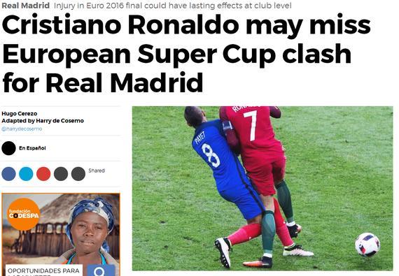 马卡:C罗可能会缺席欧洲超级杯的比赛