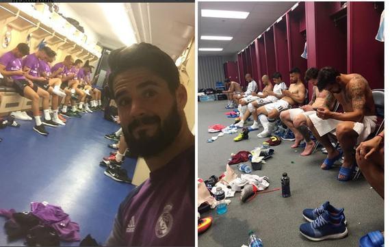 皇马和阿根廷球员都在更衣室内低头玩手机