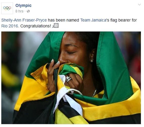 弗雷泽成为了牙买加代表团在开幕式上的旗手